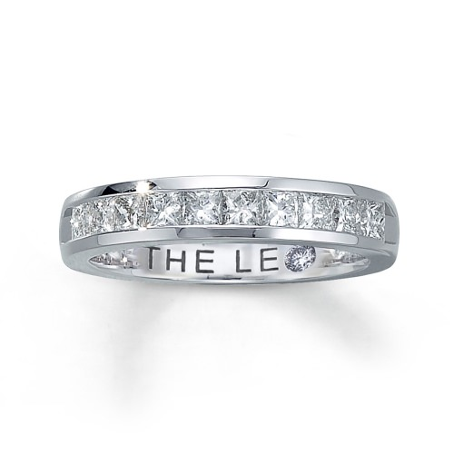 LEO ANNIVERSARY BAND 1 CT TW PRINCESS-CUT 14K WHITE GOLD