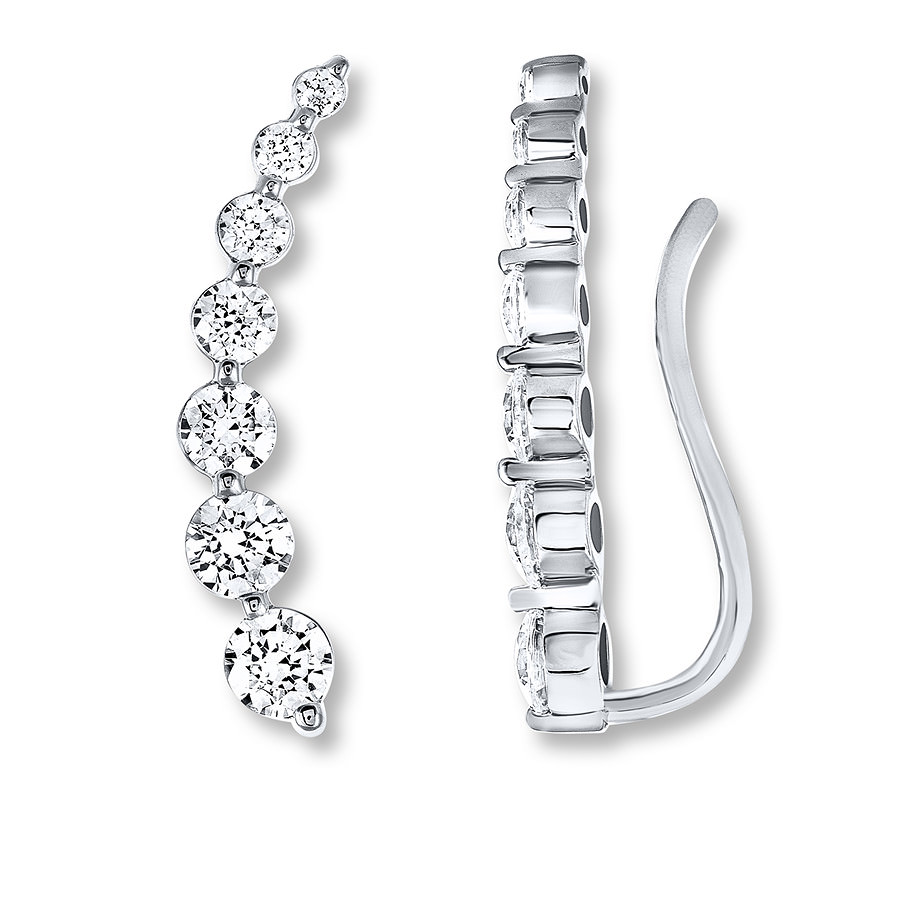 Leo Diamond Climber Earrings 1-1/5 carats tw 14K White Gold