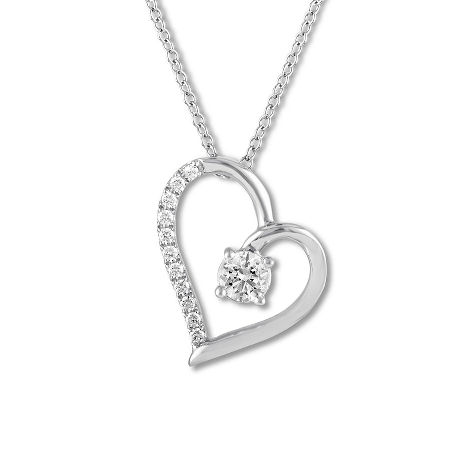 Leo Diamond Heart Necklace 1/2 ct tw Round-cut 14K White Gold