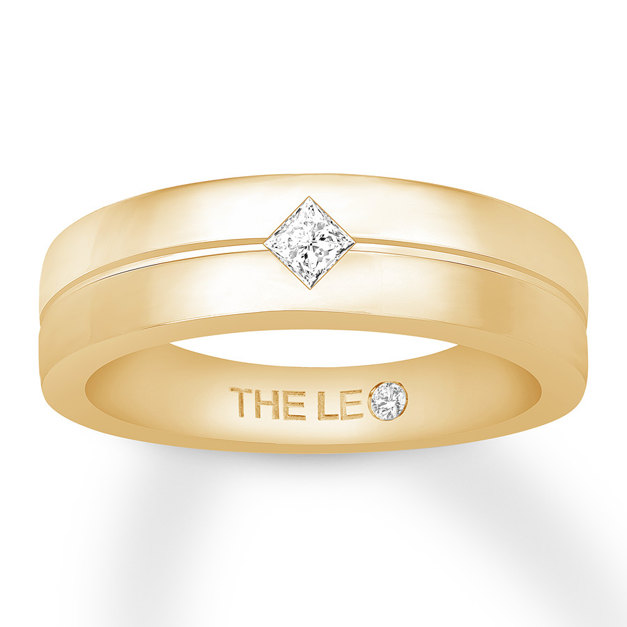 Leo Diamond Men's Wedding Band 1/6 ct Square 14K Yellow Gold