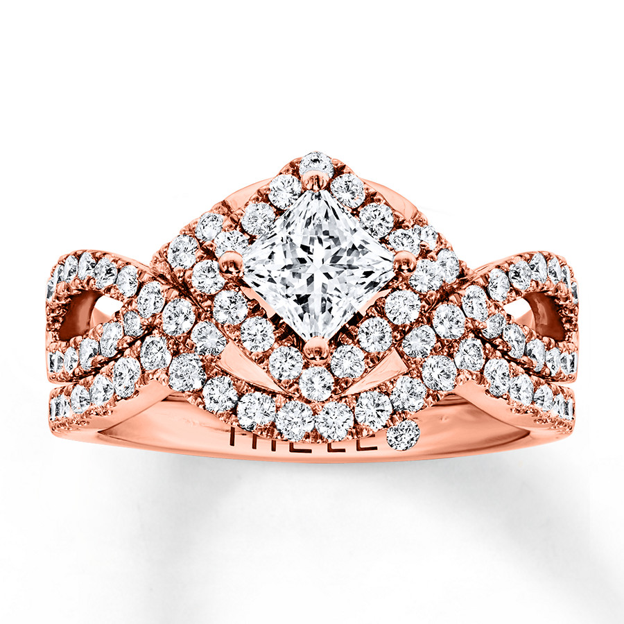 Leo Diamond Bridal Set 1-1/4 ct tw Princess/Round 14K Rose Gold