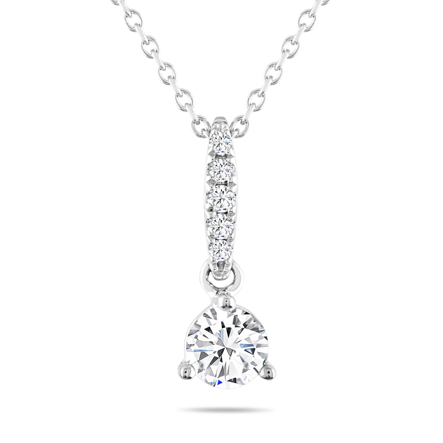 Leo Diamond Necklace 1/2 ct tw Round-cut 14K White Gold