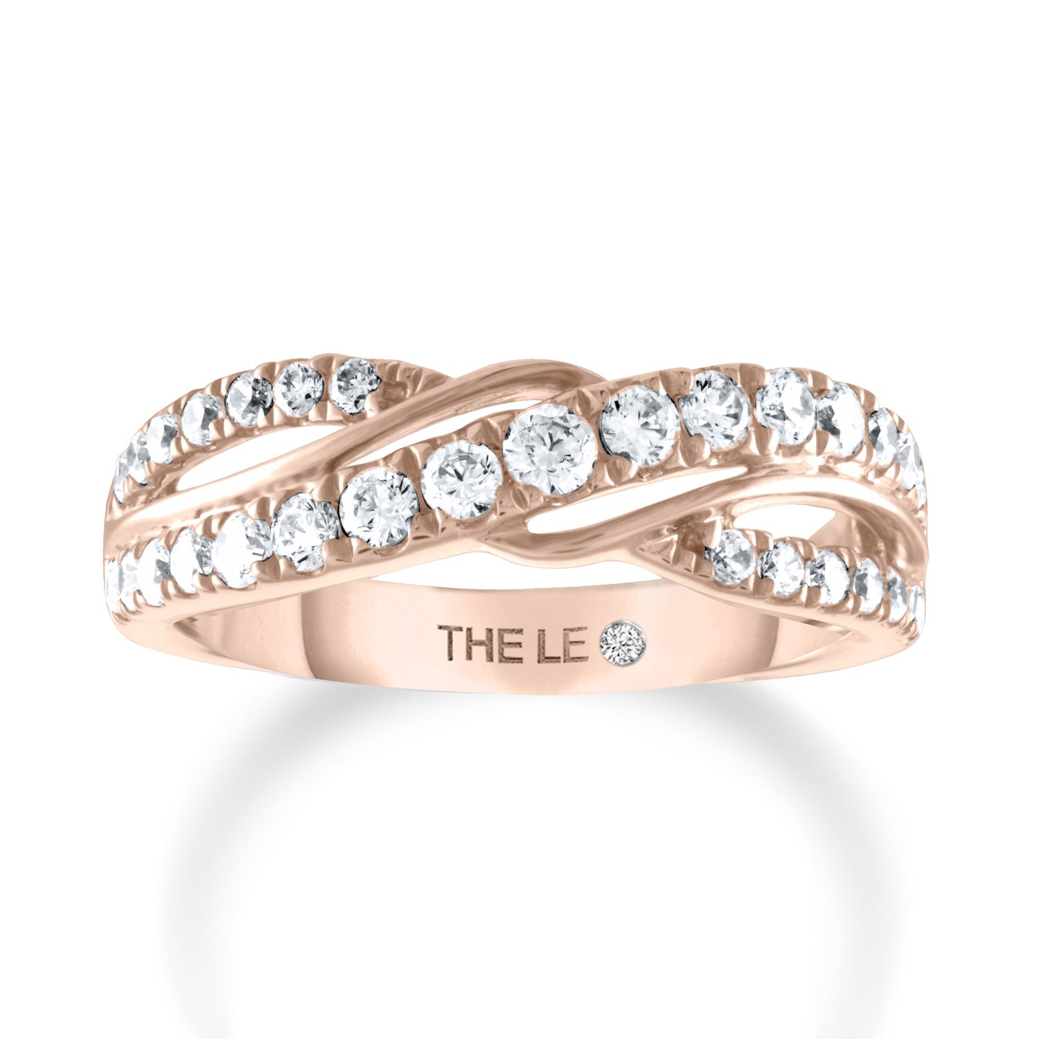 Leo Diamond Anniversary Band 5/8 ct tw Round 14K Rose Gold
