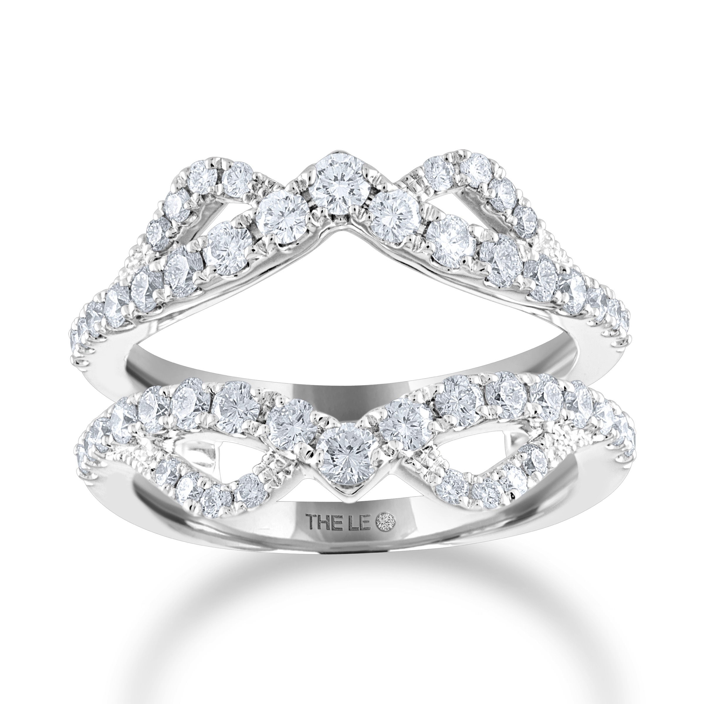 Leo Diamond Enhancer Ring 1 ct tw Round-cut 14K White Gold