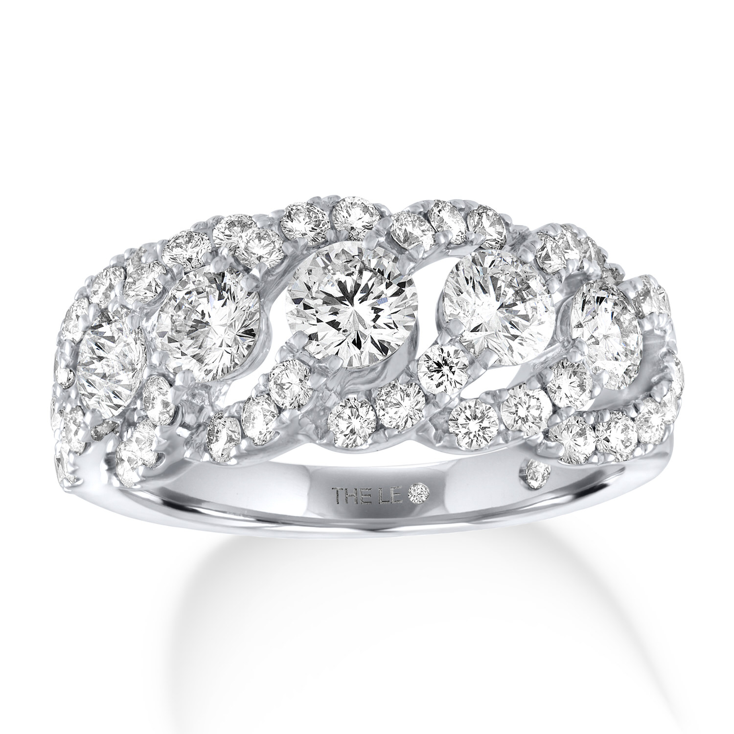 Leo Diamond Anniversary Band 2 ct tw Round-cut 14K White Gold