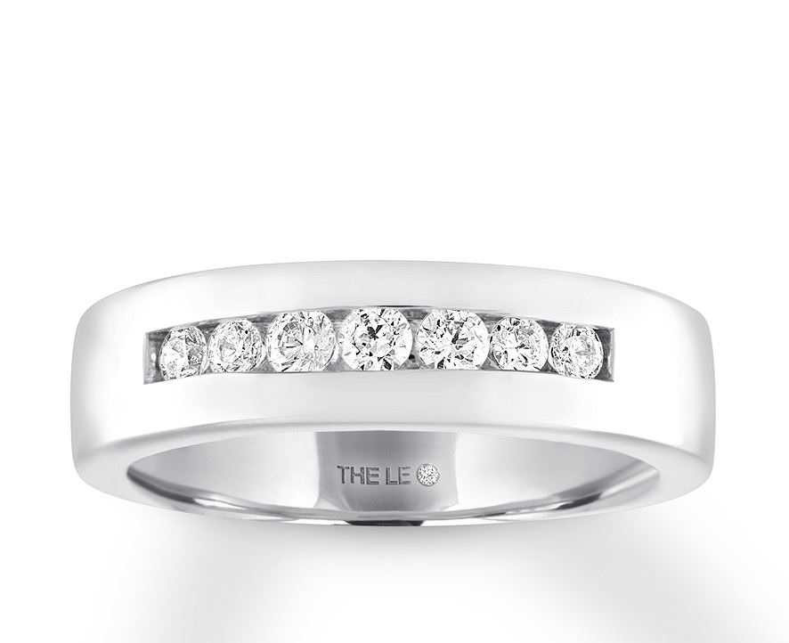 Leo Diamond Men's Wedding Band 3/8 ct tw 14K White Gold